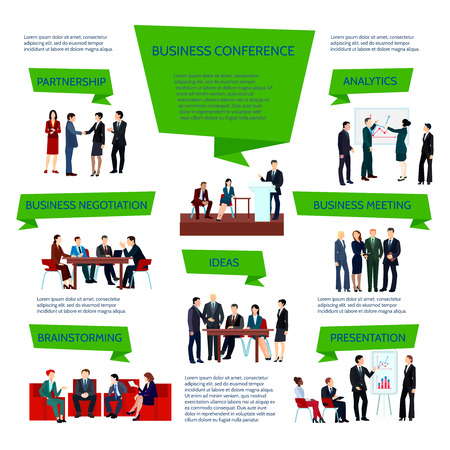 Business people group infographics at meeting conference briefing planning in flat style vector illustration Illustration