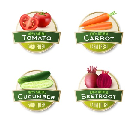 beetroot: Organic farm fresh vegetables 4 round labels collection with ecological tomato carrot cucumber and beetroot isolated vector illustration Illustration