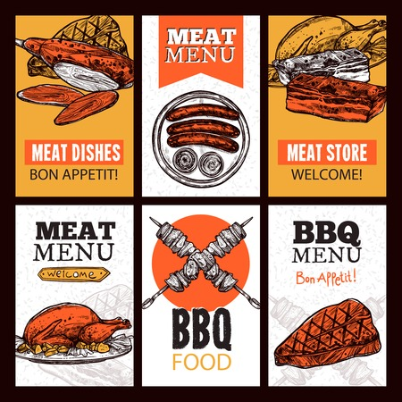 different courses: Meat dishes vertical banners with chicken roast beef barbecue steak sausages in sketch style vector illustration