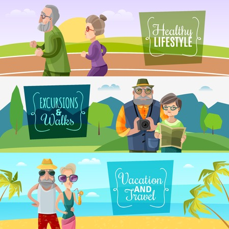 illustration journey: Old couple horizontal banners with sports traveling and journey activities in cartoon style vector illustration