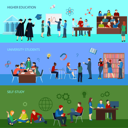 University horizontal banners with students learning teaching research and graduation in flat style vector illustration