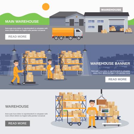 Interne und äußere horizontale Fahnen des Lagers mit Arbeitskraft-LKWs und flache Vektorillustration der Waren