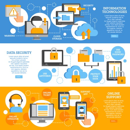 Information technologies flat horizontal banners with icons showing scheme of data protection and applications online support  vector illustration Illustration