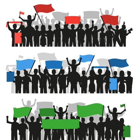 crowds of people: Three horizontal flat banners with crowds of monochrome protesting people silhouettes holding colorful flags isolated vector illustration