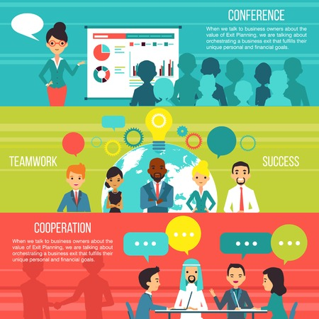 Business people horizontal banners with multi ethnic teams cooperation and business conference design compositions flat vector illustration