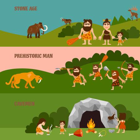 石器時代狩猟穴居人と水平方向のバナー ケーブ族たき火やフラット スタイルのベクトル図の動物  イラスト・ベクター素材