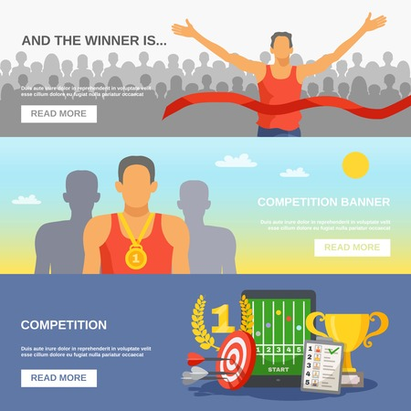Competition horizontal banners with champion awarded ceremony and sports reward and elements in flat style vector illustration