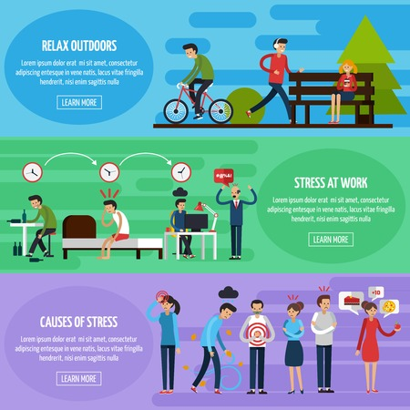 stressful: Stress and relax horizontal banners with people in stressful situations and methods of relaxation vector illustration