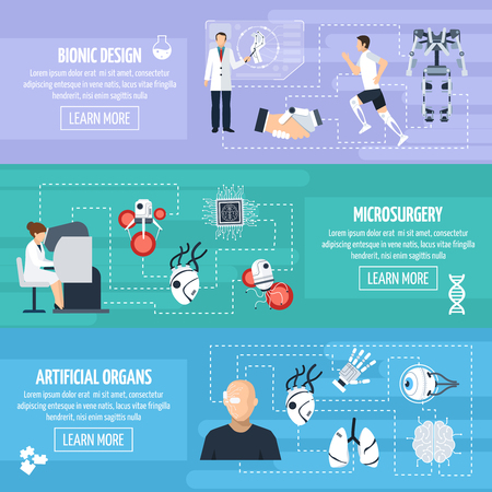inventions: Bionic technology horizontal banners with different innovations and inventions in biomedical science in flat style vector illustration Illustration