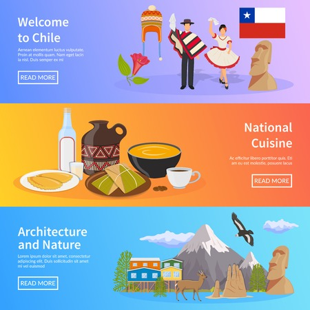 easter island: Chile colored horizontal banners set with elements of national symbols landmarks nature and cuisine flat vector illustration