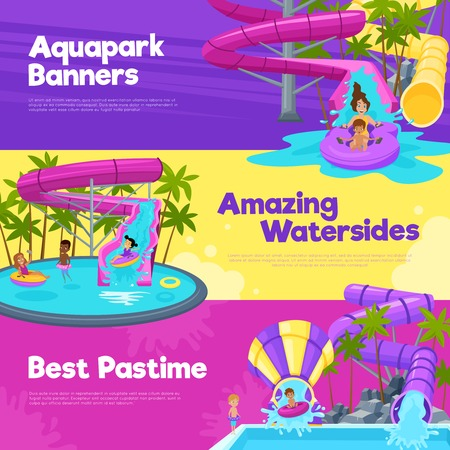 Aquapark horizontal banners with different water slides hills tubes and pools in colorful style vector illustration 向量圖像