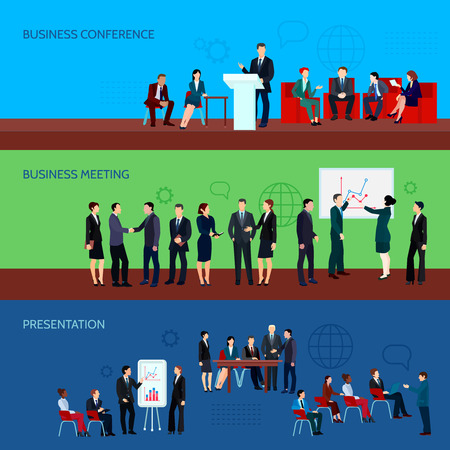 Conference horizontal banners with business people presented on different types of meetings vector illustration
