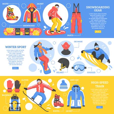Snowboarden horizontale banners met reclame van het vistuig en hulpmiddelen voor extreme wintersporten flat vector illustratie
