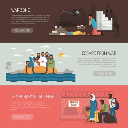 illegal zone: Horizontal immigration banners set of temporary placement and war zone compositions flat isolated vector illustration Illustration