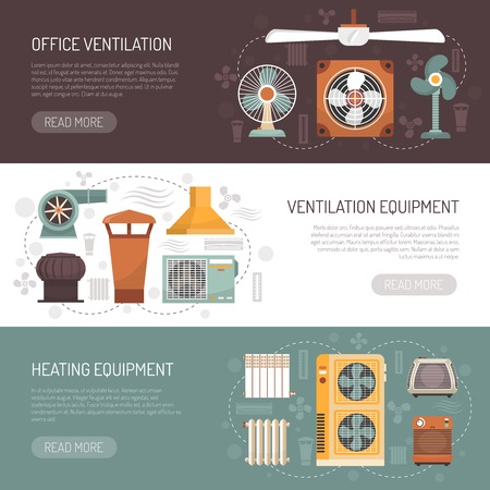 home equipment: Colorful ventilation conditioning and heating equipment for office and home flat banners isolated vector illustration