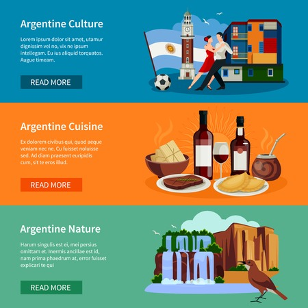 argentina: Argentina top tourists attractions 3 flat horizontal banners webpage design with landmarks food and culture isolated vector illustration