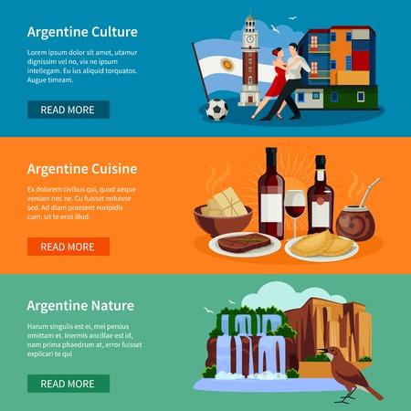 Argentinien Top-Touristenattraktionen 3 flache, horizontale Banner Webseite Design mit Sehenswürdigkeiten Essen und Kultur isoliert Vektor-Illustration Vektorgrafik