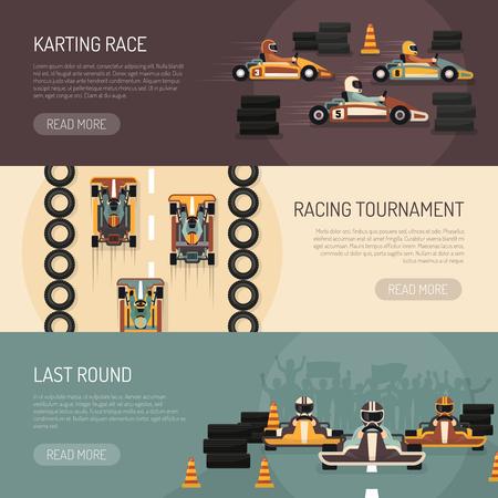 karting: Three horizontal motor race banners presenting karting tournament flat isolated vector illustration Illustration