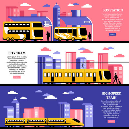 intercity: Set of horizontal banners in flat style with images of city tram bus station and high speed train on urban background vector illustration