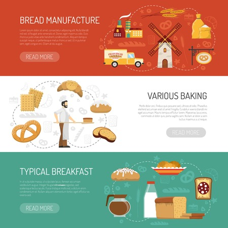 typical: Horizontal bakery banners presenting bread manufacture process and typical breakfast flat isolated vector illustration Illustration