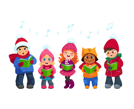Cute little kids going Christmas caroling flat vector illustration