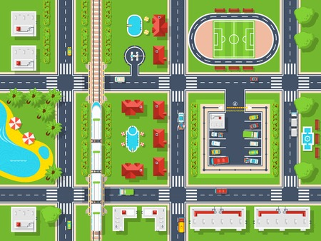 City map top view poster with roads houses pool parking field and railroad flat vector illustration Çizim