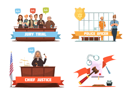 verdict: Criminal trial jury verdict and police officer with suspect 4 retro cartoon icons composition isolated vector illustration