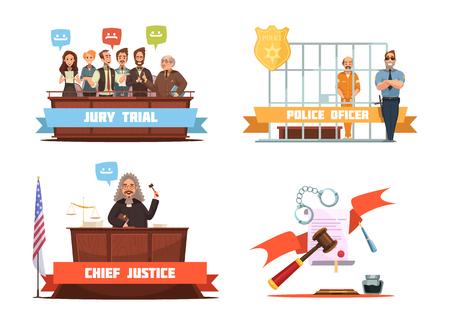 jurado: Penal veredicto del jurado y el juicio oficial de policía con ilustración vectorial 4 retro iconos de dibujos animados composición sospechoso