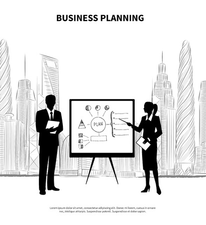 diplomat: Businessman and businesswoman with flipchart presentation on modern city background vector illustration Illustration