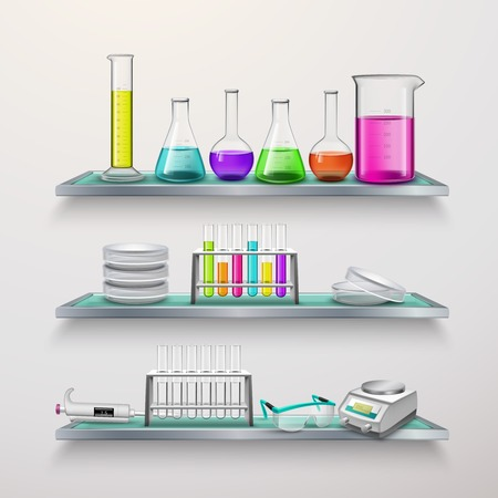 Laboratory equipment on three glass shelves composition with test tubes colorful liquids in vessels flat vector illustration