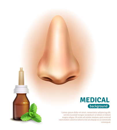 druggist: Medical advertisement poster with mint nasal spray for cold relief and big nose on background realistic vector illustration