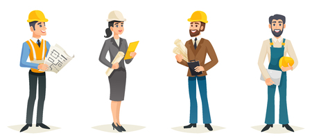 Engineers cartoon set with civil engineering construction workers architect and surveyor isolated vector illustration Çizim