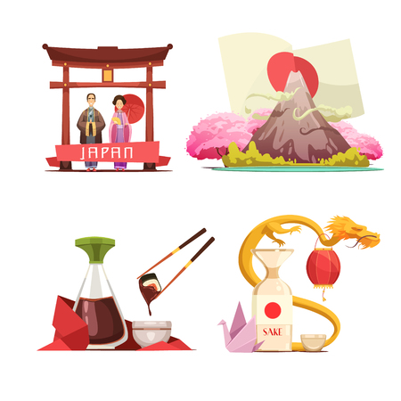 sake: Japanese culture traditions for travelers 4 retro cartoon square composition with sushi and sake isolated vector illustration