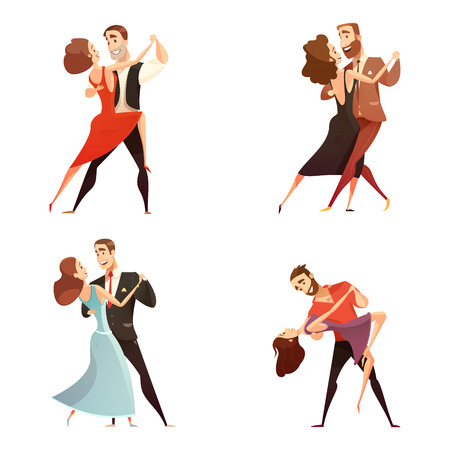 Dance pair retro cartoon set of men and women dancing together in classic repertoire flat vector illustration Illustration