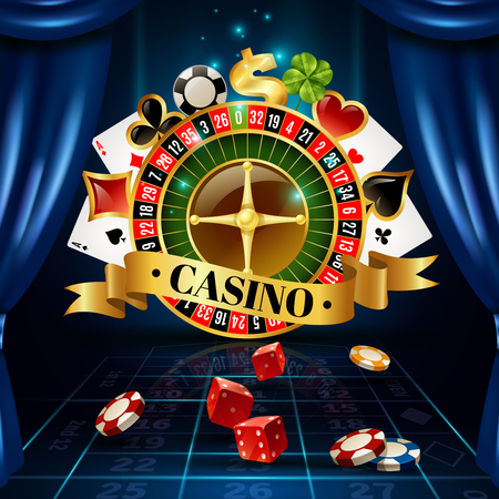 winning bid: Casino night games roulette wheel circle composition with four-leaf clover luck symbol background poster vector illustration