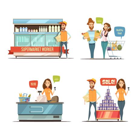 De compras en el supermercado de dibujos animados retro colección de iconos con carrito de supermercado bastidores lácteos y clientes ilustración vectorial aislado