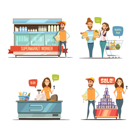 Einkaufen im Supermarkt Retro Cartoon Icons Sammlung mit Einkaufswagen Milchregale und Kunden isoliert Vektor-Illustration