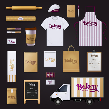 deliciously: Deliciously creative bakery pastry shop visual corporate identity stripes design template basic items collection black background vector illustration