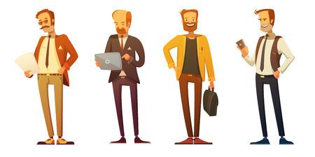 hombre de negocios del código de vestir 4 iconos retro de dibujos animados conjunto con los empresarios en el trabajo aislado ilustración vectorial