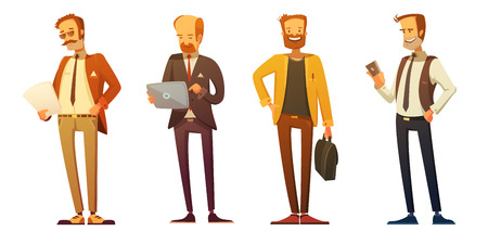 Business man dress code 4 retro cartoon icons set with businessmen at work isolated vector illustration Vectores