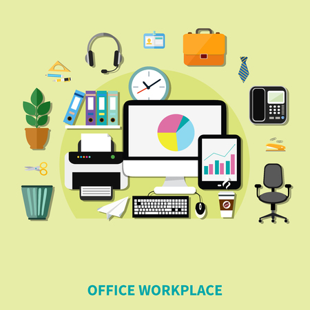 datebook: Office workplace composition of decorative icons with computer printer phone shelf with folders and waste basket flat vector illustration