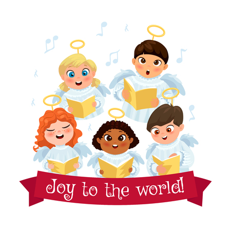 Little kids in angel costumes going Christmas caroling flat composition vector illustration