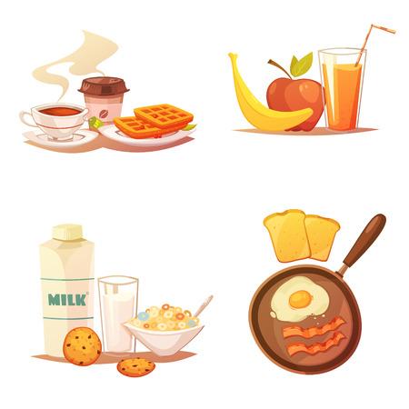 Quattro composizioni di icone colorate su sfondo bianco con diversi kit di prodotti alimentari per la colazione illustrazione vettoriale piatto