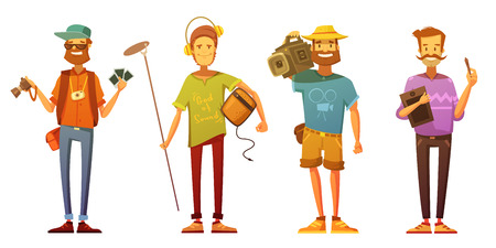 Freelance journalist reporter cameraman and artist dressed casually at work cartoon retro style isolated vector illustration