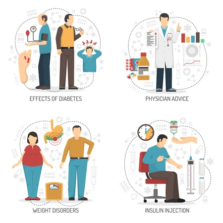 Diabetes 2x2 design concept set of symptoms weight disorders insulin injection and physician advice flat compositions vector illustration Illustration