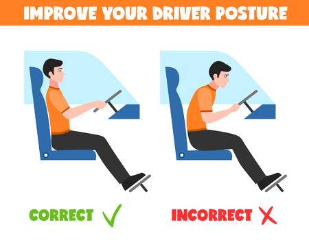 Posturas correctas e incorrectas del conductor sentado para columna vertebral sana aislados sobre fondo blanco ilustración vectorial plana Foto de archivo - 67285423