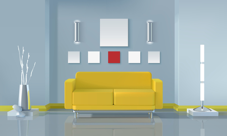 modern interior design: Modern living room interior design with yellow sofa and lamps realistic vector illustration Illustration