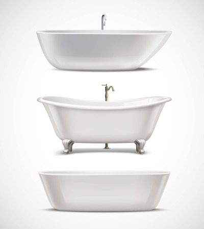 luxury homes: White bathtubs of different style and shape realistic set isolated on white background vector illustration Illustration