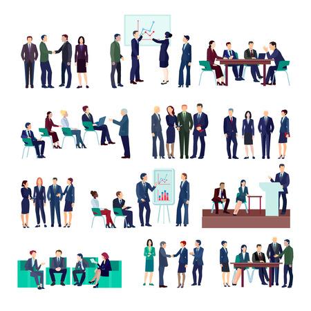 비즈니스 사람들 그룹 컬렉션 회의 브리핑 회의 다른 프로젝트 및 금융 전략 격리 된 벡터 일러스트 레이 션을 논의