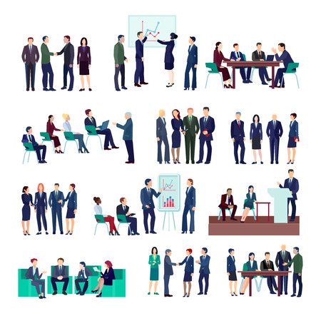 Business people groups collection at meetings briefings conference discussing different projects and financial strategies isolated vector illustration